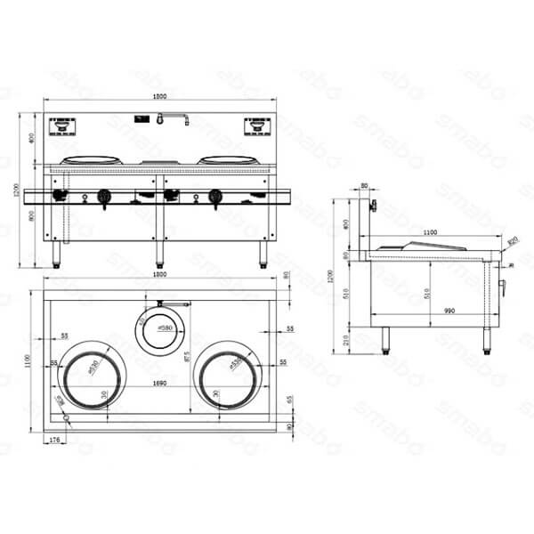 Induction Wok stove Commercial cooker