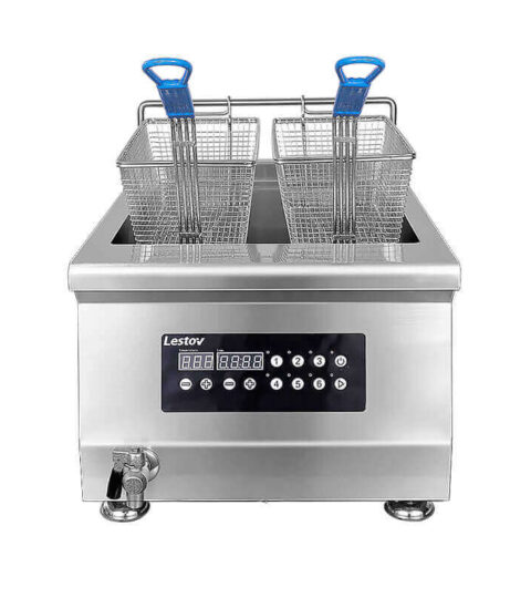 Tabletop Induction Fryer Commercial With Cover Pot