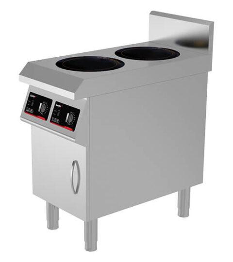 2 Burner Induction Cooktop Floor Model Commercial Stock Pot