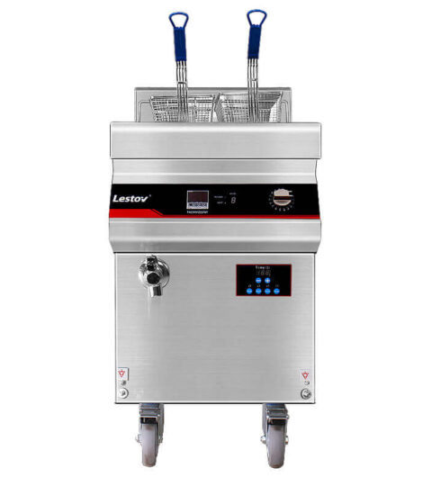 Induction Commercial Deep Fryer With Casters 27L