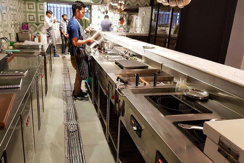 built in induction cooker in an India restaurant
