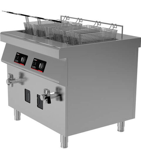 Dual Tank Heavy-Duty Electric Induction Commercial Deep Fryer 4 Baskets