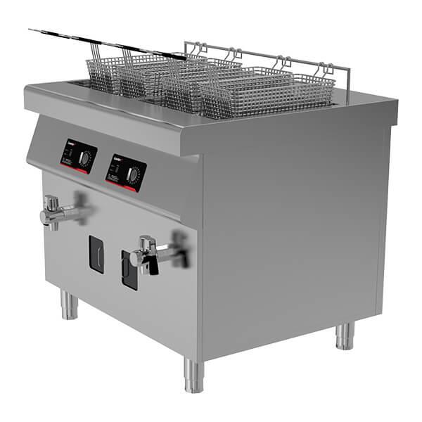 dual tank four basket induction fryer